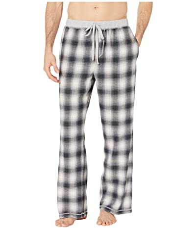 True Grit Melange Shadow Plaid Flannel Pajama Pants with Heather Knit Trim (Charcoal) Men
