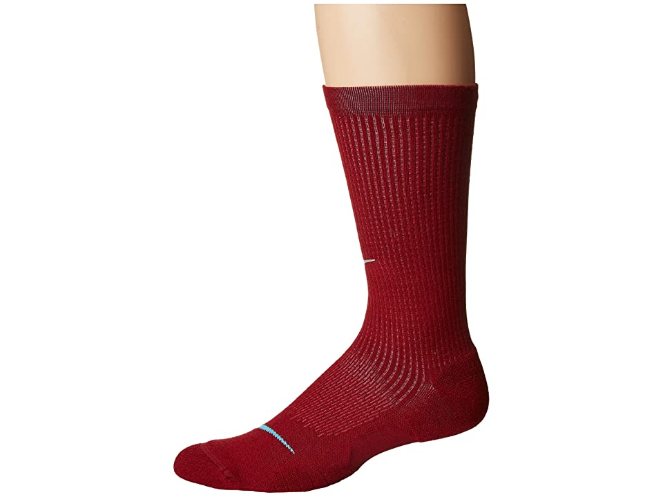 Nike Elite Cushioned Running Merino Crew Socks (Team Red/Gym Red/Blue Fury) Crew Cut Socks Shoes