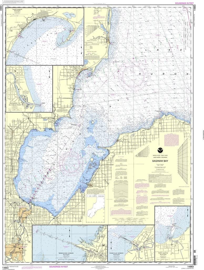 NOAA 14863-Saginaw Daily bargain sale Bay - Port Recommendation Caseville Austin E Harbor
