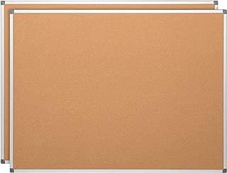 Learniture LNT-127-24362-SO Natural Cork Board w/ Aluminum Frame, Brown (Pack of 2)