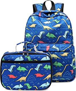 Backpack for Kids, CAMTOP Boys Preschool Backpack with Lunch Box Toddler Kindergarten School Bookbag Set (Y025-2 Dinosaur-Dark Blue)