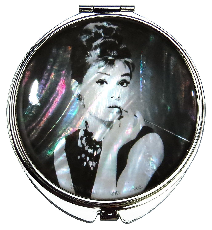 オードリー?ヘップバーンの螺鈿(らでん)の金属デュアルコンパクトな折りたたみと拡大の化粧鏡 黒、白 [並行輸入品]