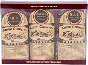 product image for Amish Country Popcorn | 3 (1 Lb Variety Gift Set) - Red, Purple & Blue Kernels | Old Fashioned with Recipe Guide