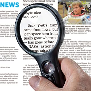 SeeZoom Lighted Magnifying Glass 3X 45x Magnifier Lens – Handheld Magnifying Glass..