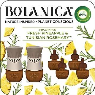 Air Wick Botanica Plug in Scented Oil Starter Kit, 2 Warmers + 6 Refills, Fresh Pineapple..