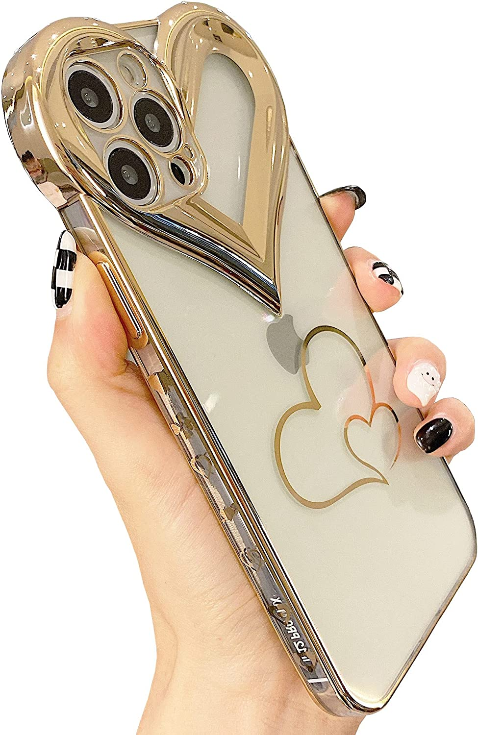 JEUTIEN Cute 3D Love Heart iPhone 12 Pro Max Case, Glitter Sparkle Gold Plated Cover for Women Girls, Slim Soft Flexible Glossy Silicone TPU Bumper Protective Phone Case 6.7