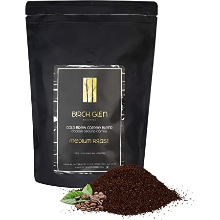 1 lb Medium Roast Cold Brew Coffee Blend, Coarse Ground Colombian - Birch Glen Roasters - 16 oz Resealable Bag