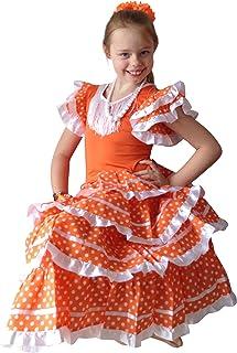 La Senorita Spanische Flamenco Kleid/Kostüm - für Mädchen/Kinder - Orange/Weiß - Größe 140-146 - Länge 95 cm