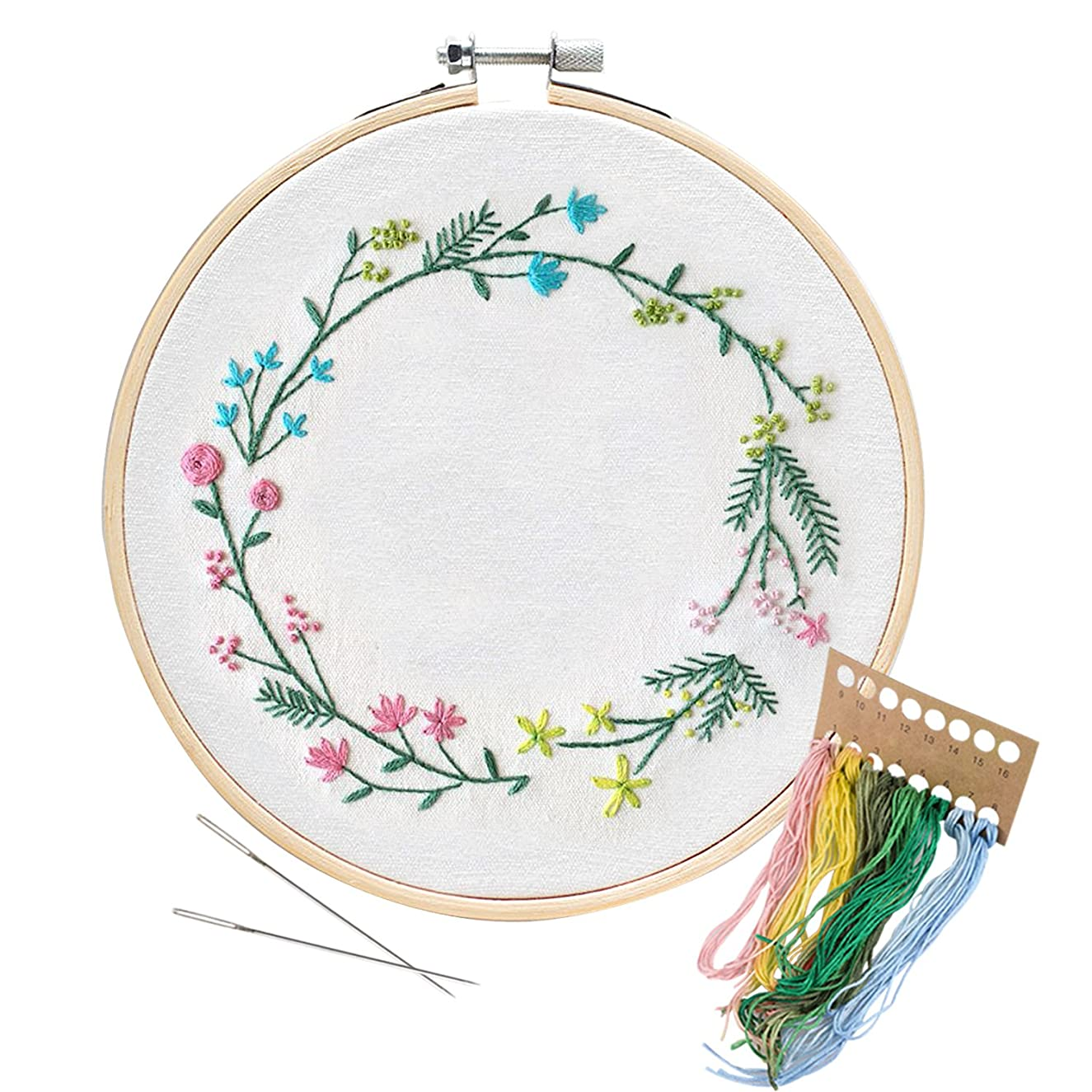 Unime Embroidery Starter Kit with Pattern Full Range Embroidery Kit with Embroidery Cloth, Embroidery Hoop, Color Threads, Needles (garland03)