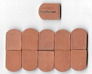 ALEA Mosaic Tejas de Techo verdaderas con veritable Arcilla Color Rojo. 20x15mm, 100 Unidades