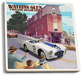 Lantern Press Watkins Glen State Park, New York - Vintage Grand Prix (Set of 4 Ceramic Coasters - Cork-Backed, Absorbent)