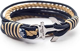 Unisex Family Bracelet Nautical Rope Stainless Steel Anchor BARBAROSSA for Couples, Women, Men, Kids Handcrafted Jewelry Handmade in Europe Timeless Water Resistant Cuff Wristband