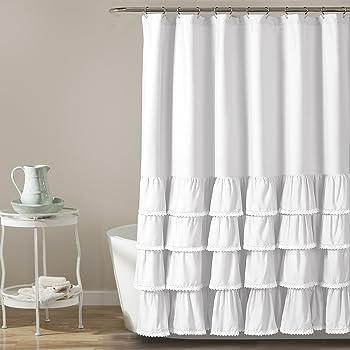 "Lush Decor 16T002858 Ella Lace Ruffle Shower Curtain, 72"" x 72"", White"