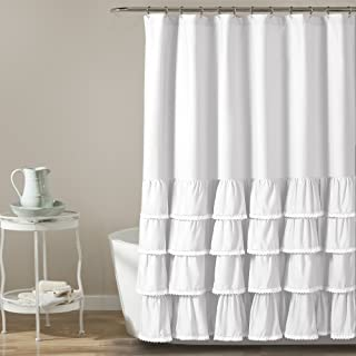 Lush Decor 16T002858 Ella Lace Ruffle Shower Curtain, 72