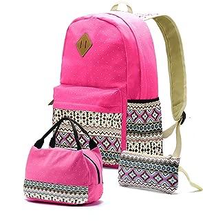 Teenager Teen Girl Canvas School Backpack Lunch Pencil Bookbag Set of 3