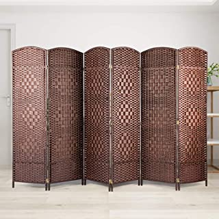 BANFANG Room Divider - Wide-Diamond Weave Fiber Room Dividers and Folding Privacy Screens, Partition Wall Dividers 6 Panel