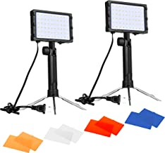 Emart 60 LED Continuous Portable Photography Lighting Kit for Table Top Photo Video Studio Light Lamp with Color Filters - 2 Packs