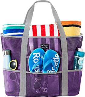 SoHo Collection, Mesh Beach Bag - Toy Tote Bag - Large Lightweight Market, Grocery & Picnic Tote with Oversized Pockets (Lavender and Gray)