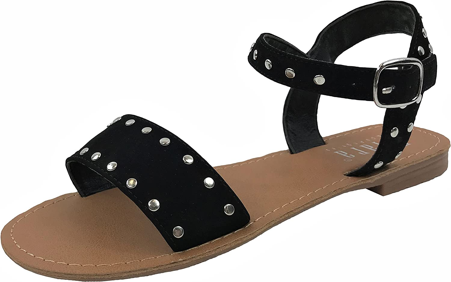 Womens Over The Toe Flat Summer Sandal with Ankle Strap