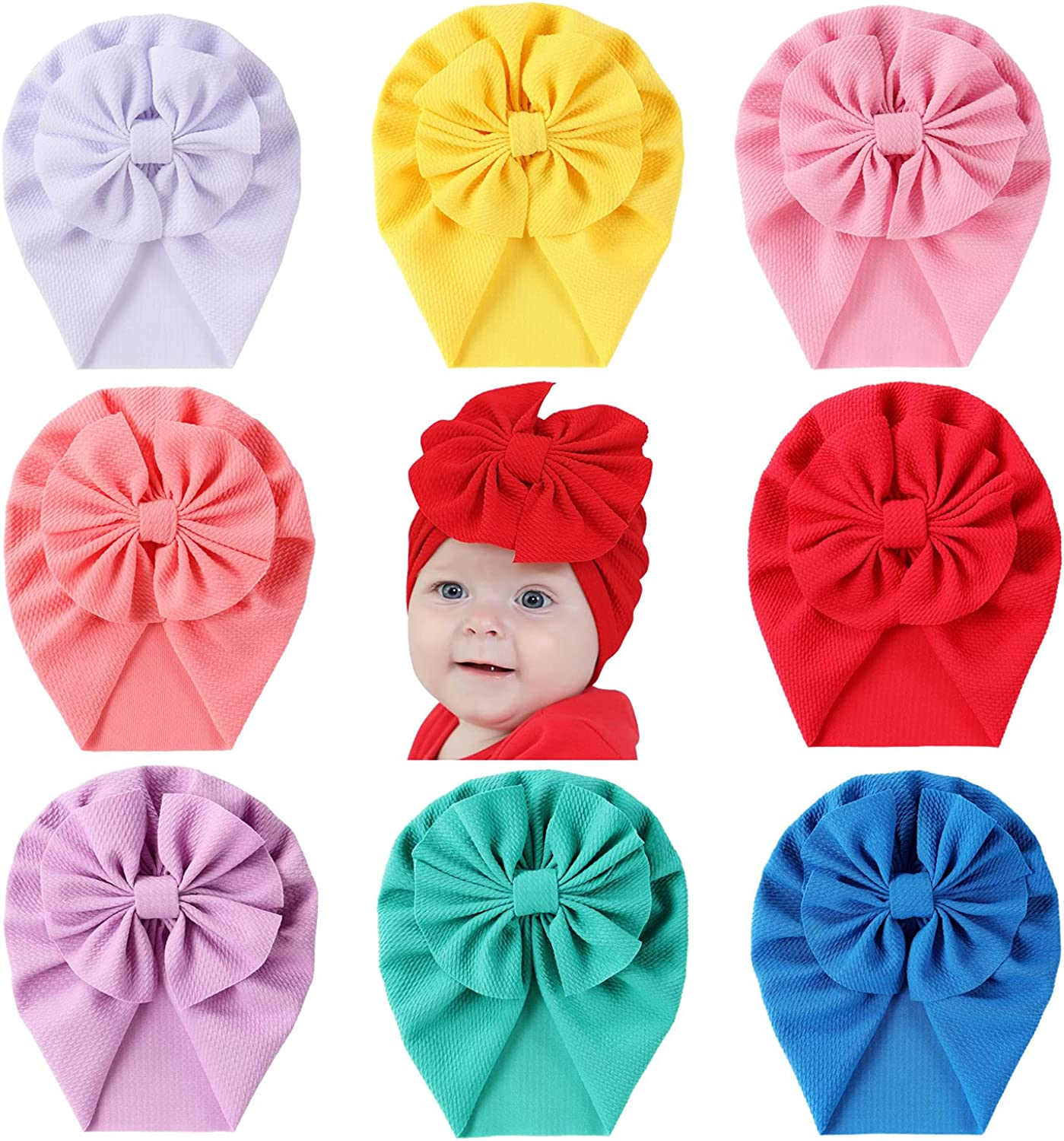 Cinaci 8 Pack Solid Knotted Bowknot Big Turban Hair Bow Beanie H Bargain Max 56% OFF