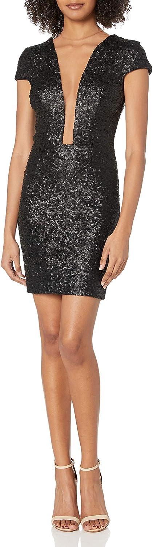 Dress the Population Women's Kylie Sequin Mini Dress, Matte Black, S