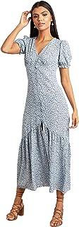 فستان ماكسي للنساء مورد بنمط عشوائي مع حاشية مكشكشة