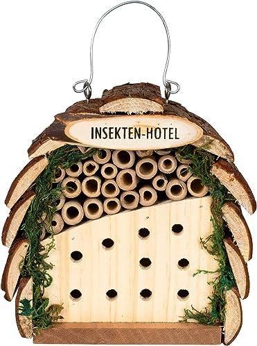 Gardigo Hôtel à Insectes en Bois Abri Naturel Bambou Refuge pour Hibernation Nidification Cabane à Coccinelle et Abei...
