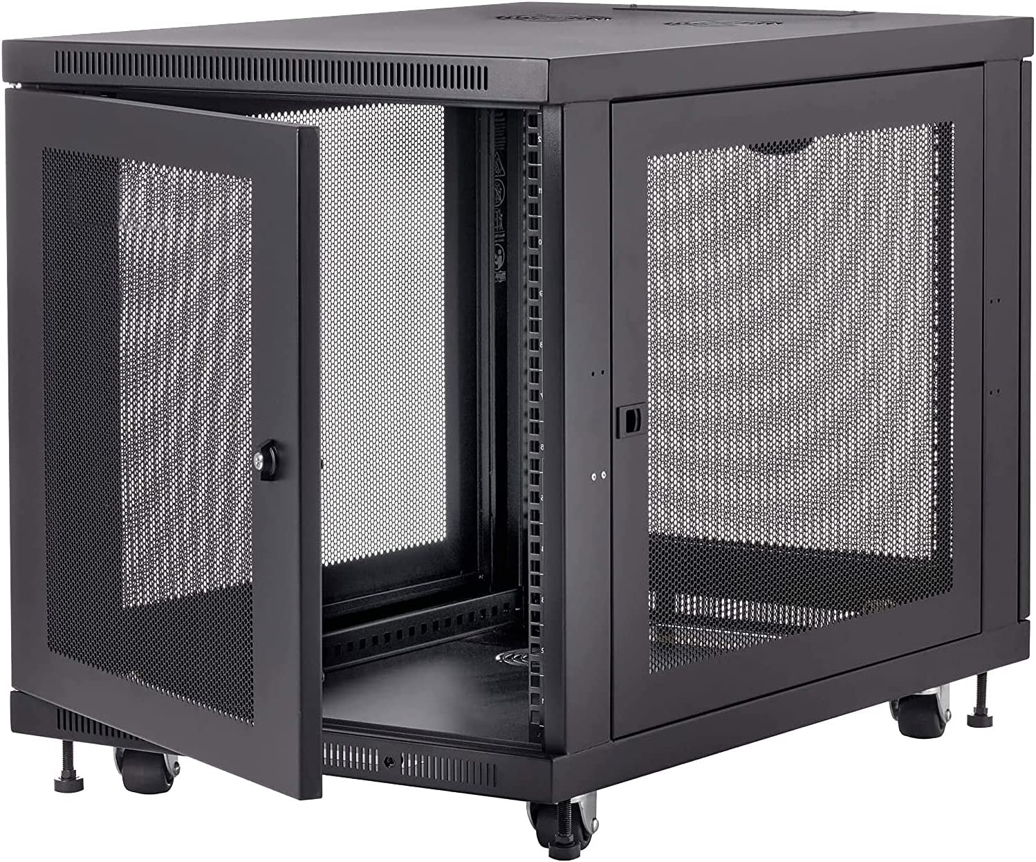 FerruNet 12U Rack Enclosure Server Cabinet,Black,casters and Leveling feet,Apply to Network Wiring Room,Computer Room,Data Room,Control Center,Home,Office,etc.
