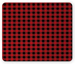 Red and Black Mouse Pad, Ancient Scottish Kilt Print Striped Abstract Bold Squares Chess Board Like Image Gaming Mousepad Office Mouse Mat Ruby
