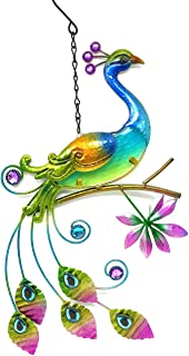 Bejeweled Display Peacock w/Glass Wall Art Plaque & Home Decor