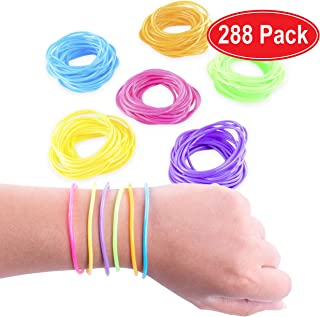 Super Z Outlet 80s Colorful Retro Rock Pop Star Rainbow Diva Disco Jelly Neon Gel Stretchable Bracelets Bands for Theme Events, Colorful Assortment, Assorted Toy Party Favor Prizes (Assorted 288pk)