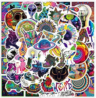 50 Pcs Vinyl Psychedelic Stickers Waterproof Stoner Psychedelic Decals Pack for Water Bottle Hydro Flask Laptop Skateboard...