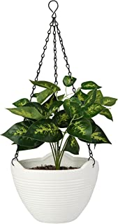 Ribbed White 8 Inch Ceramic Hanging Flower Planter Pot with Black Metal Chain