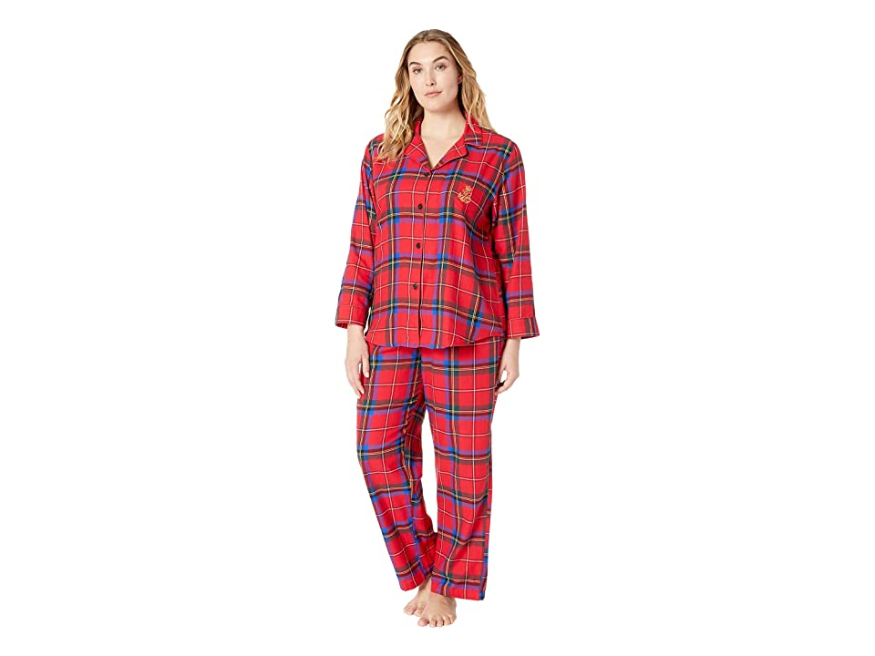 LAUREN Ralph Lauren Plus Size Brushed Twill Long Sleeve Classic Notch Collar Pajama Set (Red Plaid) Women