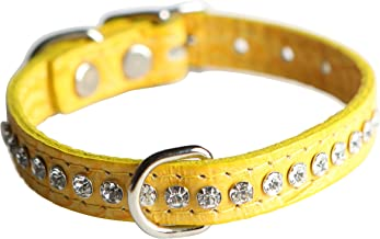 """OmniPet Signature Leather Crystal and Dog Collar, Faux Crocodile Print, 14"""", Yellow"""