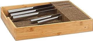Relaxdays Bamboo Knife Holder, Drawer & Messe Storage Tray Drawer Organizer (H x W: 6,5x38x33,5cm, Natural