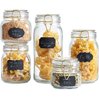 VonShef Set of 5 Clip Top Glass Storage Preserving Jars - With 10 Reusable Stickers & 1 anti-dust Chalk