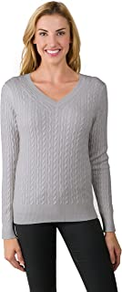 By JENNIE LIU Women's 100% Cashmere Long Sleeve Pullover Cable-knit V-neck Sweater