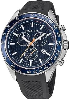 Nautica Men's Stainless Steel Quartz Silicone Strap, Gray, 22 Casual Watch (Model: NAPOBF121)