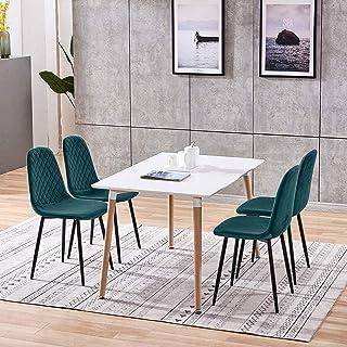 BJYG Muebles Juego de Comedor Verde de 5 Piezas Mesa de Comedor y sillas de Cocina de Madera Juego de 4 sillas de Terciopelo Sillas tapizadas y Mesa de Madera Blanca Rectangular para Espacios peq
