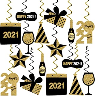 Happy New Year Hanging Swirl Decorations – Pack of 30, Glitter | New Years Eve Party Supplies 2021 | Happy New Years Decor...