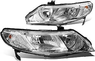 For Honda Civic Sedan Pair of Chrome Housing Clear Corner Headlight - 8th Gen