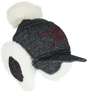 Women/Girls Winter Warm Knit Hat Snow Ski Caps with Visor and Earmuffs