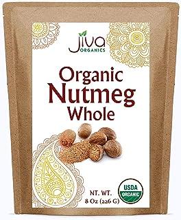 Jiva Organics Organic Nutmeg Whole 8 ounce Bag - 100% Natural & Non-GMO Spice