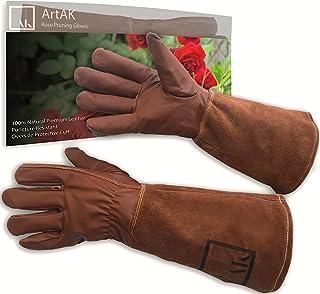 ArtAK Leather Rose Pruning Gloves Gardening Thorn Proof Long Rose Glove