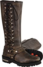 Milwaukee Leather Women's Classic Harness Leather Boots with Full Lacing (Black/Beige, Size 7.5/14