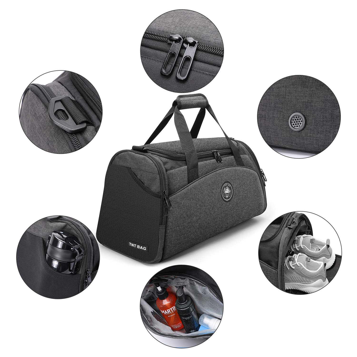 FitBeast Sports Gym Bag Duffel Bag with Shoes Compartment & Wet Pocket, Travel Duffel Bag with 9 Compartments for Men & Women, Big Capacity Holdall with Shoulder Strap for Gym, Sports, Travel, Swimming