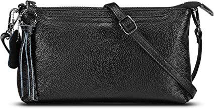 Lecxci Womens Small Leather Crossbody Bag, Zipper Clutch Phone Wallet Purse with [ Card Slots] for Women