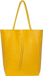 SKUTARI BRAND OF QUALITY GOODS SKUTARI LEDER Vittoria Classic - Damen Shopper aus echtem Leder, Handtasche mit eingenähter Innentasche, handgefertigt in Italien, Fashion Tragetasche mit langen Griffen, 37 x 38 x 14 cm