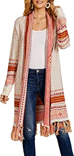 YeMgSiP Women's Boho Cardigan Open Front Long Tassel Hem Sweaters Aztec Tribe Spring Summer Thin Coat